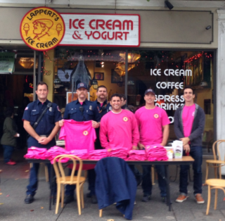 Lappert's Ice Cream and Marin Professional Firefighters Partner for Breast Cancer Awareness in Marin.