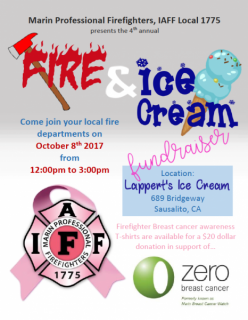 Fire & Ice Cream Fundraiser October 8 at Lappert's Ice Cream (DATE CHANGED)